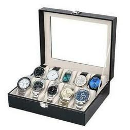 10 Slot Men Watch Box Leather Display Case Organizer Glass J