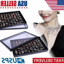 100 Ring Women Lady Jewelry Display Storage Box Case Tray Sh