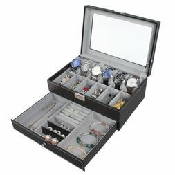 12 Slots PU Leather Watch Case Watch Box Organizer Jewelry D