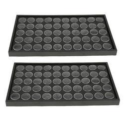 2 Packs 50 Grids Plastic Nail Powder Organizer Shake-proof J