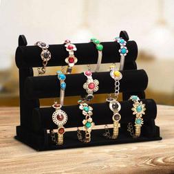 3 Tiers Velvet Necklace Jewelry Bangle Bracelet Organizer Ho