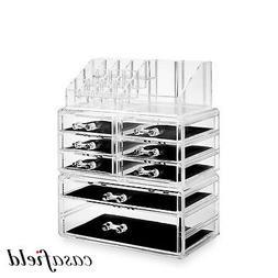 3pc Acrylic Cosmetic Makeup Organizer & Jewelry Drawer Stora