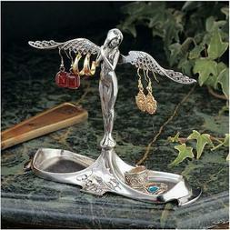"6"" Art Nouveau Italian Angel Decorative Pewter Jewelry Holde"