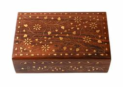 6'' Hand Crafted Wooden Decorative Brass Inlay Trinket Jewel