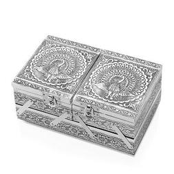 Aluminium Oxidized Peacock Embossed 2 Tier Jewelry Organizer