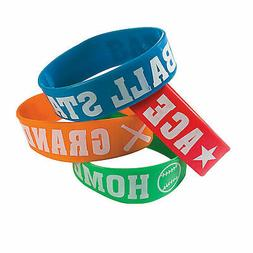 Baseball Big Band Silicone Bracelets - Jewelry - 12 Pieces