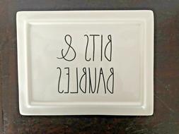 "Rae Dunn ""BITS & BAUBLES"" Jewelry Box Ceramic Trinket Case O"