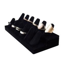 Adorox Black Velvet Finger Ring Showcase Display Jewelry Org