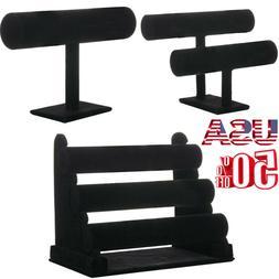 Black Velvet T-Bar Jewelry Rack Bracelet Necklace Stand Orga