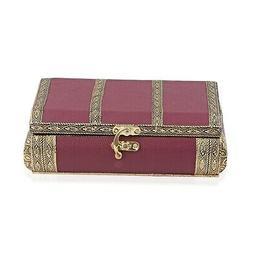 Burgundy Faux Leather Oxidized Jewelry Organizer Box Storage