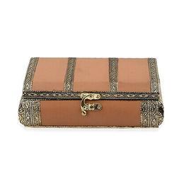 Camel Faux Leather Oxidized Jewelry Organizer Box Storage Sc
