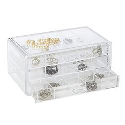 Clearly Chic Stackable 3 Drawer Organizer with Dividers