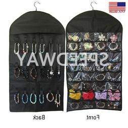 Closet Hanging Jewelry Organizer Necklace Storage Holder Tra