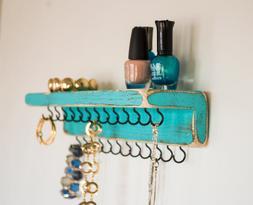 Farmhouse Decor Jewelry Organizer with Shelf - Necklaces, Br