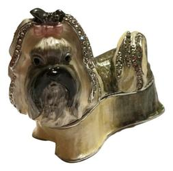 Welforth Fine Pewter Dog Terrier with Pink Bow Jewelry Trink