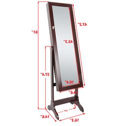 Free Standing Full Length Mirror Jewelry Cabinet Armoire Sto