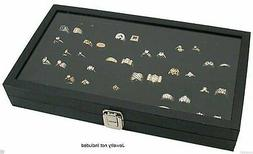 Glass Top Lid 72 Ring Black Showcase Jewelry Display Storage