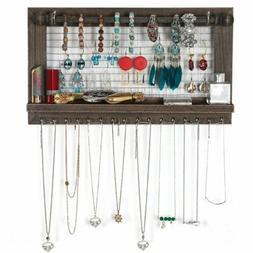 Hanging Rustic Wood Jewelry Organizer, Necklace Holder Stora