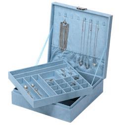 Jewelry Box Organizer Two-Layer Lint Jewelry Display Storage