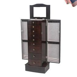 Jewelry Cabinet Wooden Armoire Storage Box Stand Organizer C