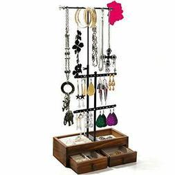 Jewelry Organizer - 3 Tier Tree Stand, Metal & Wood Storage