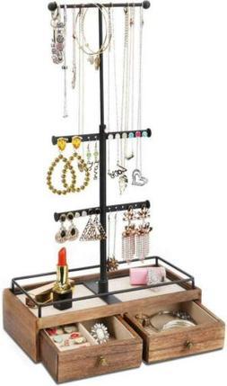 Keebofly Jewelry Organizer Metal & Wood Basic Storage Box -