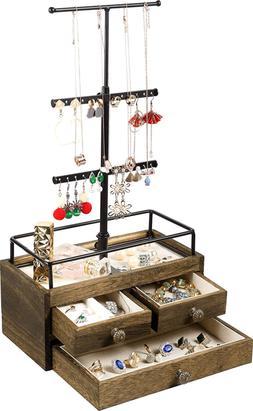 Jewelry Organizer Tower with Double Organizer Metal Wood R W