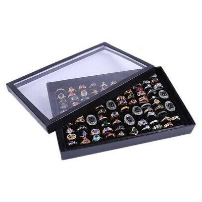 100 Slots Jewelry Ring Display Organizer Case Tray Holder Ea