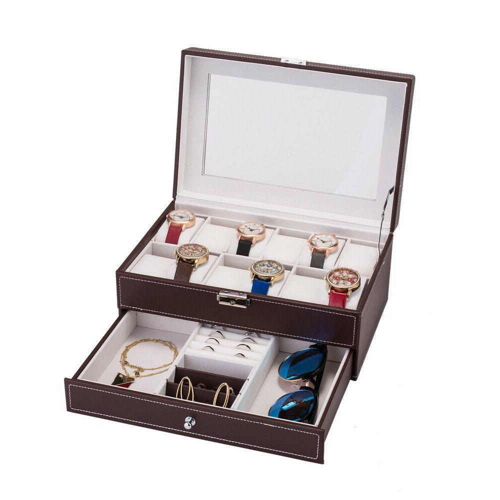 12 Slots Watch Box Mens Watch Organizer Lockable Jewelry Dis