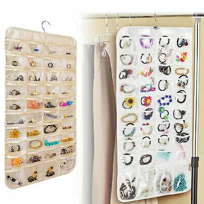 80 pocket hanging jewelry organizer storage
