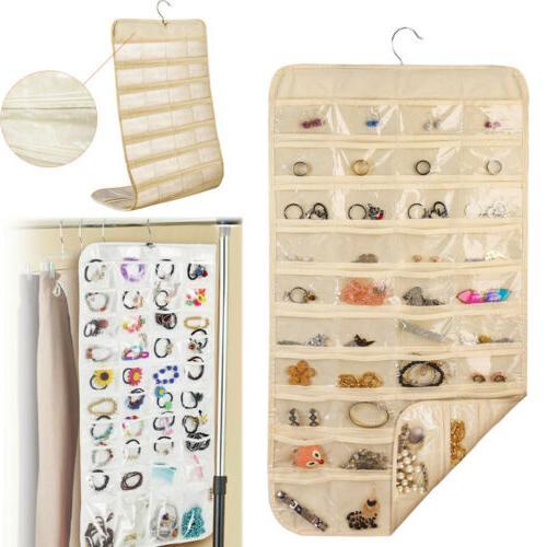 80 pocket jewelry hanging organizer earring storage