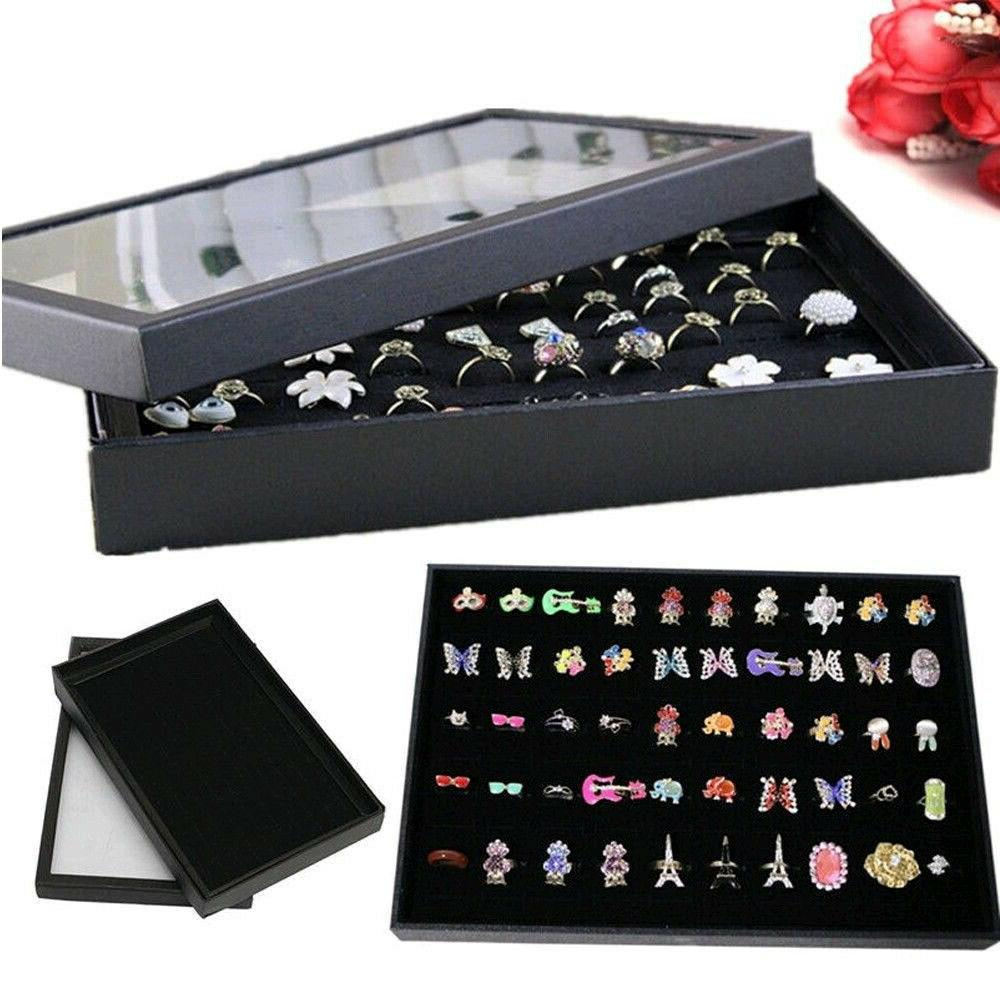 100 slot jewelry organizer box holder tray