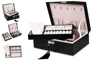 jewelry organizer box women two layer display