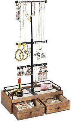 Keebofly Jewelry Organizer Metal  Wood Basic Storage Box - 3