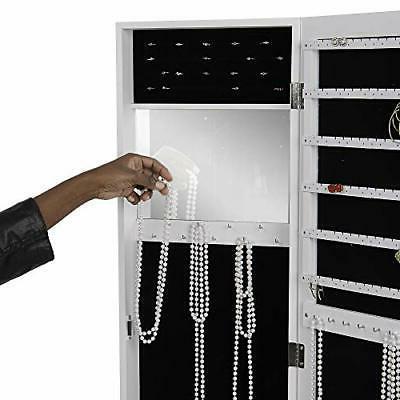 JMIR-WHT Door Armoire Organizer with Mirror, Necklaces
