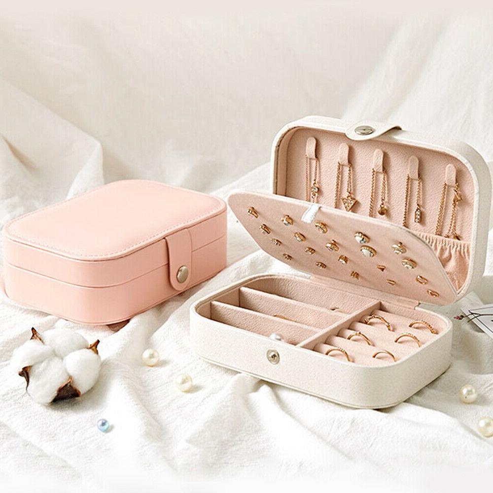 Portable Travel Box Organizer Velvet Earring Ring Display Case
