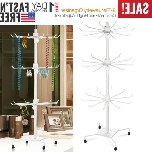 rotating jewelry stand display organizer necklace ring