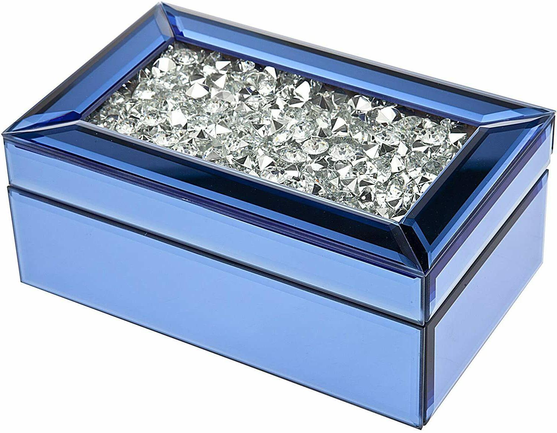 Trinket Jewelry Box Organizer Blue with Crystal  Beautiful a