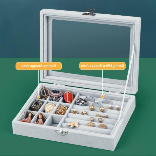 Jewelry Earring Ring Display Organizer Box Tray Holder Stora