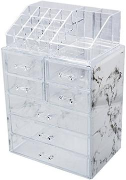 Sorbus Luxe Marble Cosmetic Makeup and Jewelry Storage Case