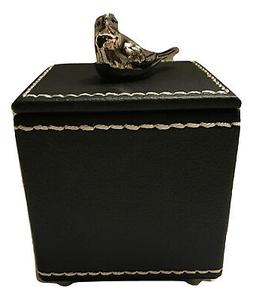 Welforth Pewter Bird On Faux Leather Jewelry Trinket Small B
