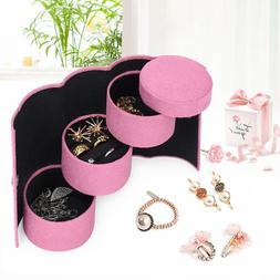 Portable Travel Jewelry Box Organizer Cylinder Roll Ornament