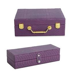 Purple Removable 2-Tier Croco Embroidered Faux Leather Jewel