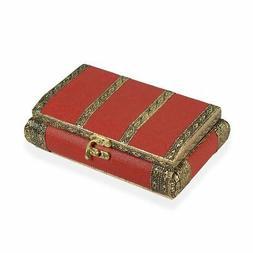 Red Leatherette Oxidized Jewelry Organizer Box Storage Vinta