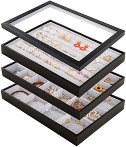 Stackable Velvet Jewelry Trays Organizer Set with Clear Lid