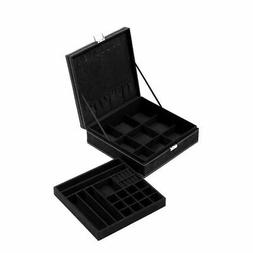 Two Layer Jewelry Box Organizer Display Storage Case with Lo
