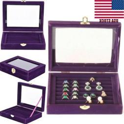 Velvet Glass Jewelry Ring Display Organizer Case Tray Holder