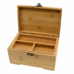 Vintage Wooden Jewelry Box With Lock Antique Storage Boxes O
